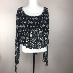 Free People Cropped Patterned Long Sleeve Blouse